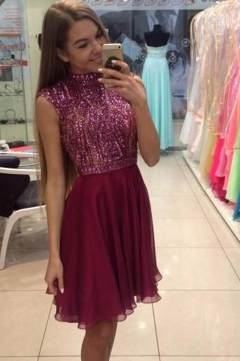 High Neck Beading Sexy Prom Dress A Line Chiffon Homecoming Dress for Juniors,Short Prom Gowns,Short Homecoming Dress,Noble Party Dress,Homecoming Dress