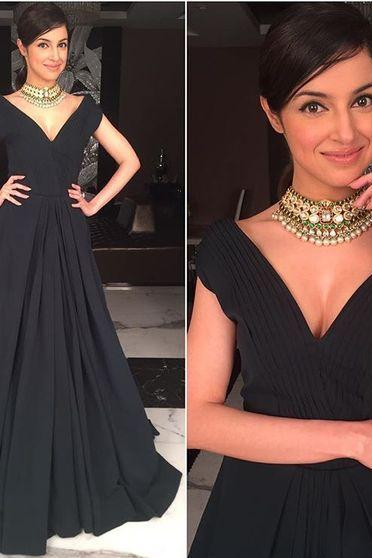 Noble Prom Dress,Black Chiffon Prom Dress,Prom Formal Dress,Long Prom Gowns,V neck Prom Dress,Women Dress,Elegant Dress,New Style Evening Dress,Party Dress,Evening Gowns 2016