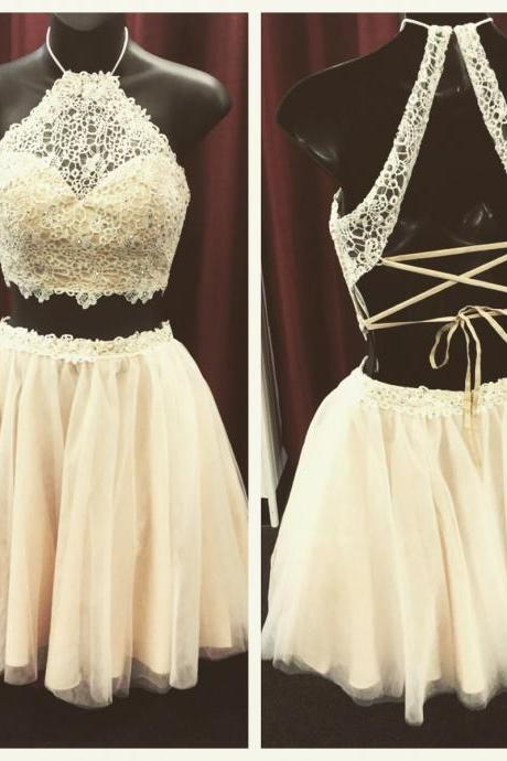 Handmade Chiffon Lace Homecoming Dress,Beading Graduation Dress,Lace Wedding Party Dress,Girl's Dress,Short Graduation Dress,Two Pieces Prom Dress,Halter Graduation Dress,,Short Prom Gowns,