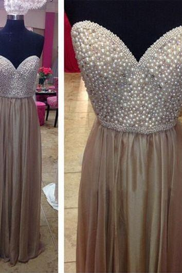 Modest Prom Dress,Champagne Long Prom Dresses,Sweetheart Prom Dress,Ivory Pearls Prom Gowns,Wedding Party Gowns,Formal Prom Women Dress,Custom Made Prom Gowns,A Line,Graduation Dresses,