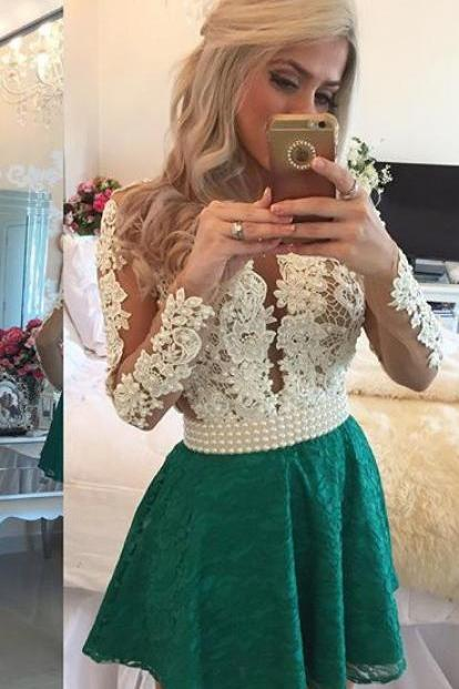 Deep V Neck Sheer Tulle Short Sexy Party Dresses ,Short Homecoming Dress, Long Sleeves Homecoming Dress, Lace Homecoming Dress, Homecoming Dresses, New Arrival Emerald Green Prom Dress,