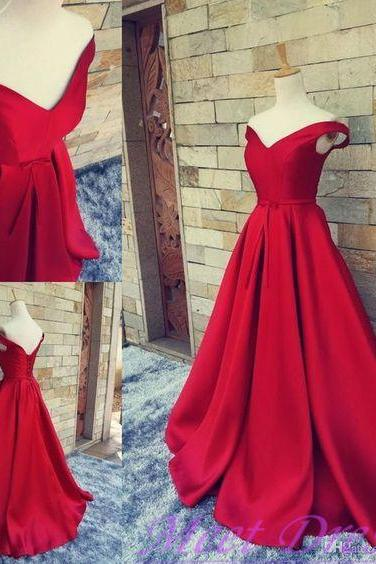 2016 Simple Ball Gown Off The Shoulder Red Satin Prom Dress Fitted Corset Formal Gown Evening Gowns For Teens ,Charming Red Carpet Dress,Formal Dress