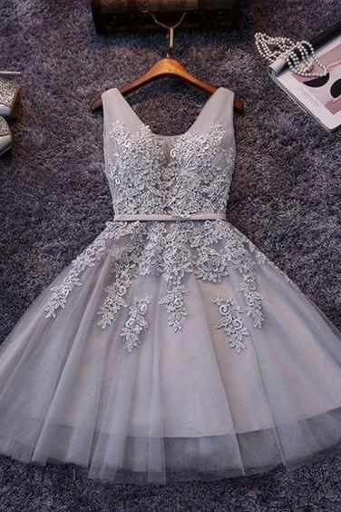 Beautiful Short Prom Dress,V Neck Prom Dress,Tulle Appliques Homecoming Dress,A line Homecoming Dress,Modest Party Dress,Formal Homecoming Party Dress,