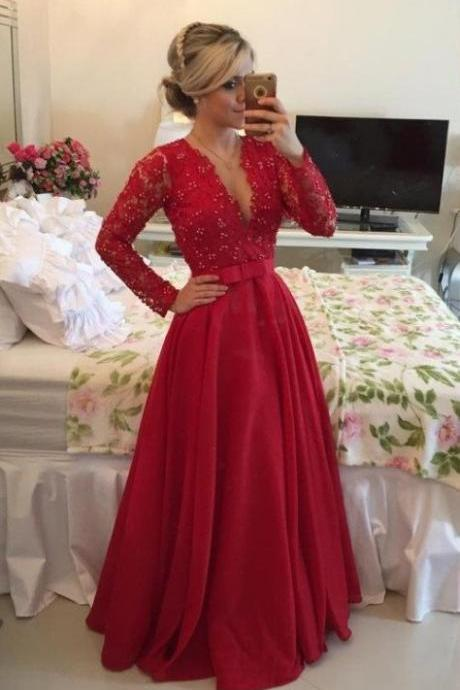 Lace Long Sleeves Prom Dress,Red Prom Dress,Deep V Neckline Prom Dress,Beaded Prom Gowns,Evening Party Dress,Formal Women Dress,Chiffon Prom Dress,Prom Dress 2016,Charming Evening Dress