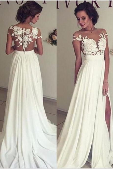 2016 Summer Beach Chiffon Wedding Dresses ,Lace Appliques Wedding Dress,Sexy Straps Wedding Gowns,Chiffon Wedding Dress Long,High Quality Made Bridal Dress,Lace Top Side Slit Garden Elegant Bridal Gowns,Charming Prom Dress
