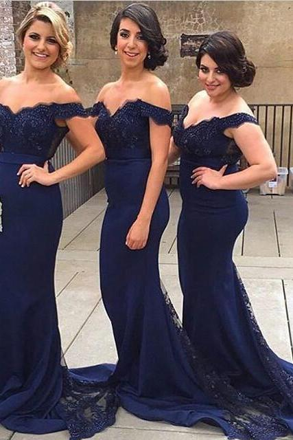Mermaid Off Shoulder Court Train Lace Navy Blue Bridesmaid Prom Dress ,2016 Bridesmaid Dresses, Long Bridesmaid Dress With Court Train, Mermaid Bridesmaid Dresses, Off the Shoulder Bridesmaid Dresses