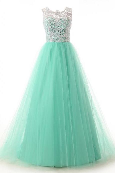 Elegant Mint Prom Dresses,Ruched Lace Prom Dresses,Sleeveless Prom Dresses, Long Prom Dresses,Prom Gowns ,Prom Dress With Appliques,Elegant A-line Scoop Floor Length Tulle Homecoming Prom Dress,