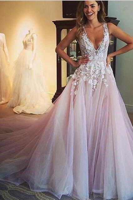Gorgeous A-line Scoop Wedding Dress,Pink Wedding Dress,Appliques Prom Dress,Long Prom Dress 2016,Sexy Prom Gowns With Trian,2016 Custom Made Wedding Dresses,