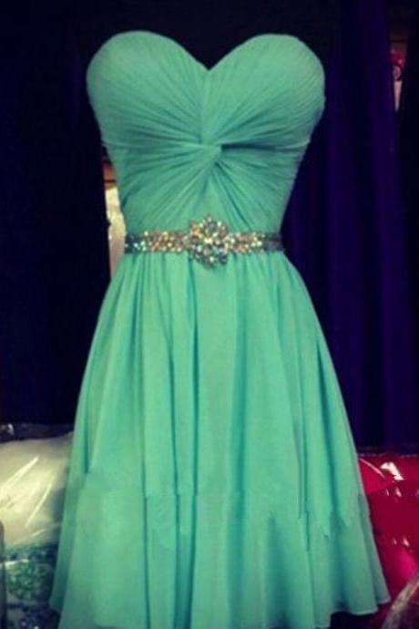 Cute Homecoming Dress,Mint Green Homecoming Gowns,Beaded Sweet 16 Dress,Mint Green Homecoming Dress,Real Made Homecoming Party Dress,