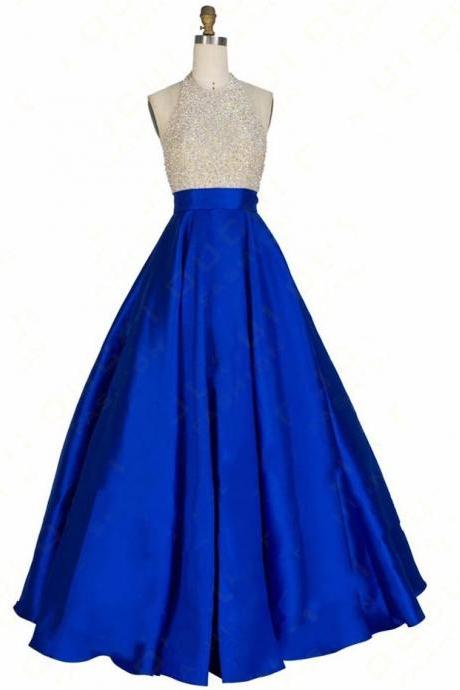 Senior Prom Dress,Satin Prom Dress,Luxurious Prom Dress,Beading Prom Gonws,A-line Prom Dress, Royal Blue Prom Dress,Real Picture Prom Evening Dress,