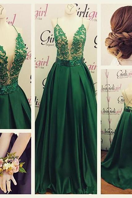 Modest Prom Dress,Spaghetti Straps Prom Dress Lace With Satin ,Deep V Prom Dress, Sexy Prom Dress ,Green Prom Dress ,2016 Beautiful Prom Dress, Prom Dress, Long Prom Dress