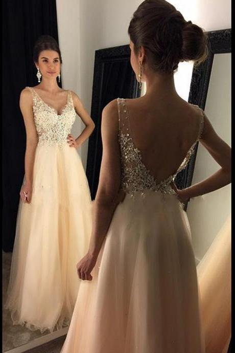 Charming Prom Dress,Sparkly V Neck Prom Dress,Sexy Backless Evening Dress,Tulle Long Prom Gown,A line Evening Dress,Party Dress,Formal Women Dress,