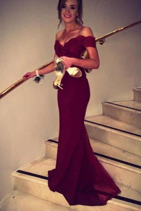 2016 Burgundy Mermaid Prom Dresses Off-the-Shoulder Lace Beaded Long Sexy Evening Gowns ,Party Dress,Wedding Party Dress,
