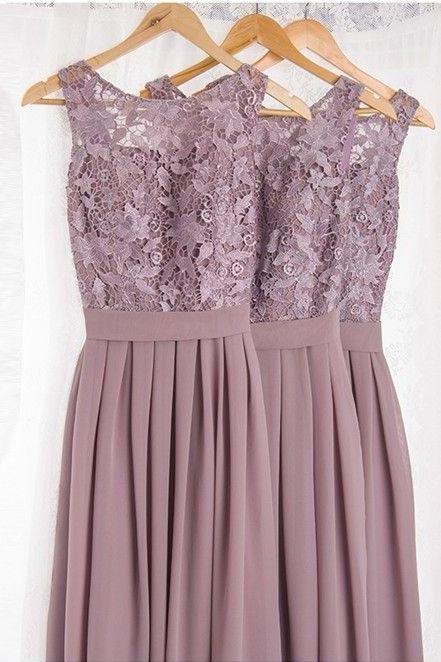 Dramatic Vintage Lace Bridesmaid Dresses with Flowing Chiffon Skirt, Light Purple Bridesmaids Dresses, Wedding Party Dresses,Bridesmaid Dresses ,Lace and Chiffon Bridesmaid Dresses,Cheap Bridesmaid Dresses,