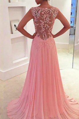 Pink Prom Dresses,Lace Prom Dress,See through Prom Dress,2016 Prom Dress,Dresses For Prom,Cheap Party Dress,Elegant Prom Dresses,2016 Formal Gowns For Teens