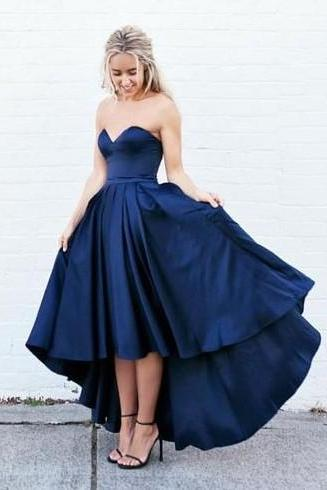 Sexy Hi-lo Dress for Prom, Navy Prom Dress,Sexy Prom Dress,High Low Prom Gowns,Sweetheart Prom Dress,Party Dress,Dress For Teens,Formal Dress,Charming Evening Dress