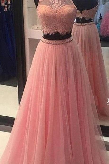 Two Pirces Prom Dress 2017,High Quality Prom Dress,Lace High Neck Prom Dresses,Tulle Prom Gowns,Long Lace Evening Formal Dress,Evening Gown,Women Dress,