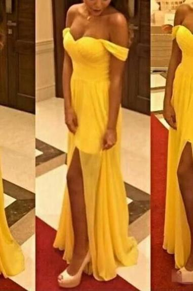 High Quality Yellow Long Slit Off Shoulder Party Dresses, Prom Dresses 2017, Yellow Formal Dresses, A line Evening Gowns,Women Homecoming Dress
