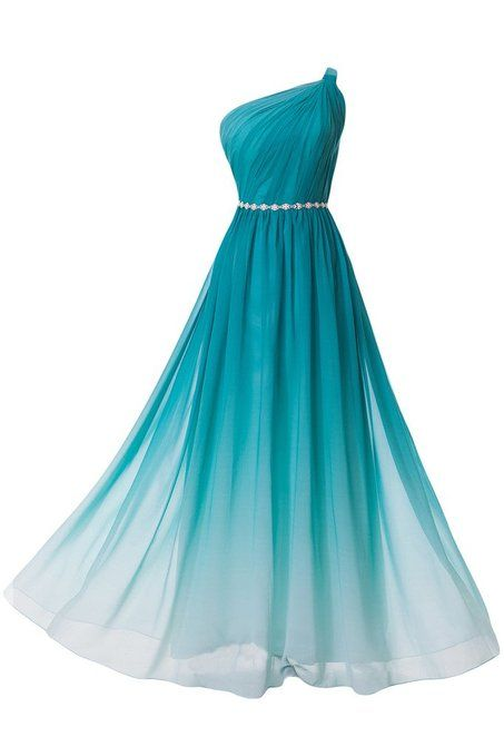 New Arrival Prom Dress,2016 Prom Dress,Chiffon Prom Dress,Gradient Prom Dress,Elegant Prom Party Dress,Women Dress,One-Shoulder Evening Dress