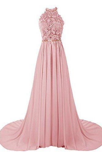 New Arrival Long Prom Dress,Chiffon Prom Dresses with Lace,Sexy Prom Dress,Backless Prom Evening Dress,Women Party Dress,Pink Evening Dresses