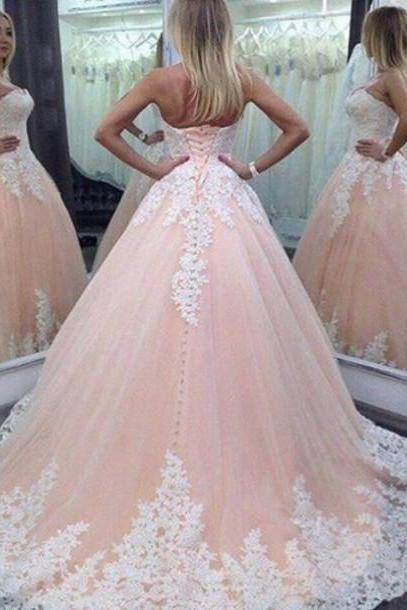 2016 Vintage Pink Lace Tulle Long Wedding Dress, Beautifui Pink Wedding Dress, Ball Gown Wedding Dress, Sweetheart Lace Wedding Dress, Plus Size Wedding Dress,High Quality Wedding Dress,