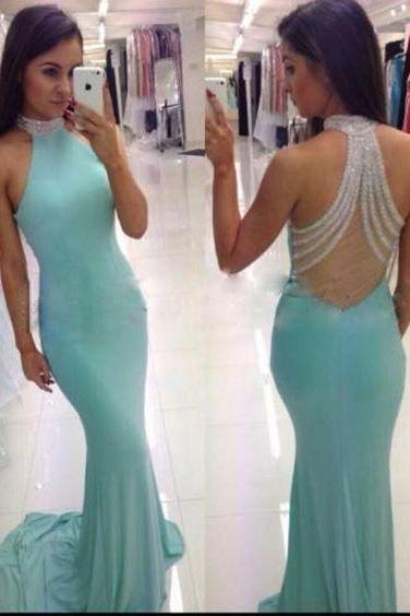 Charming Prom Dress,Sexy Prom Dress,New Prom Dresses,Prom Dress,Prom Dresses,Mint Green Prom Gown For Teens,Open Back Mermaid Blue Prom Dress,Halter Neckline Prom Gowns,Backless Graduation Dress,