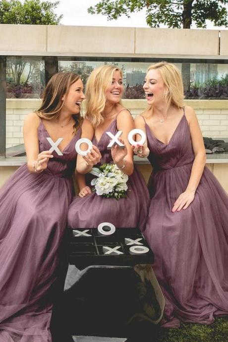 2016 New Style Bridesmaid Dresses,Purple Bridesmaid Dress,Straps Bridesmaid Dresses,Sexy Bridesmaid Dresses,Tulle Bridesmaid Dresses,Dark Purple V Neck Bridesmaid Dresses,