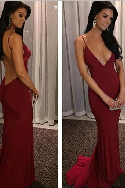 Sheath Burgundy V Neck Backless Mermaid Formal Gown With Spaghetti Straps,Sexy Prom Dress,Women Party Dress,Prom Dress 2016,Backless Evening Dress,