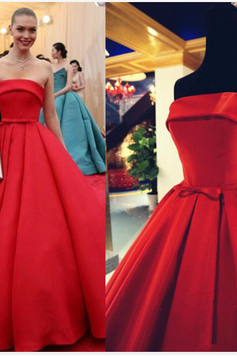 Red Prom Dress,Strapless Prom Dress,A-line Prom Dress,Satin Prom Dress,Long Prom Dress,Real Made Prom Evening Dress,Party Dress,Charming Evening Dress,Wedding Dress 2017