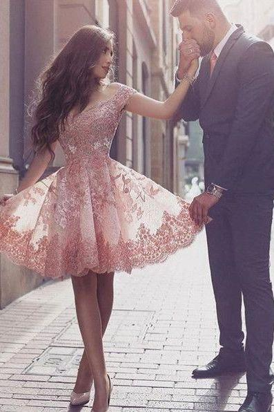 Wedding Party Dress,Short Pink Prom Dress, Lovely Homecoming Dress, Short Party Gown,Dramatic Off Shoulder Short Sleeves Mini Blush Lace Homecoming Dress with Appliques,