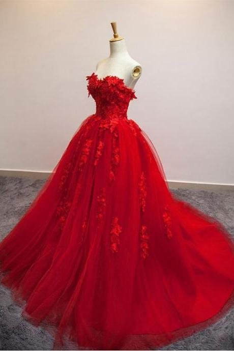 Red Wedding Dress, Tulle Wedding Dress,High Quality Prom Dress,Real Made Wedding Dress,Red Floral Lace Strapless Wedding Gown, Ball Gown Wedding Dresses