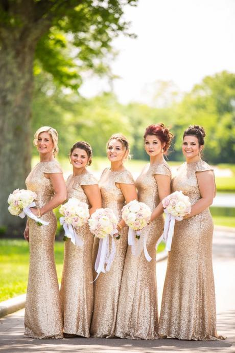 Fashion Scoop Sequined Long Backless Gold Bridesmaid Dress With Short Sleeves,Sequin Bridesmaid Dress,Cheap Bridesmaid Dress,Bridesmaid Prom Dress,Hot Sale Bridesmaid Dress,Bridesmaid Dress,
