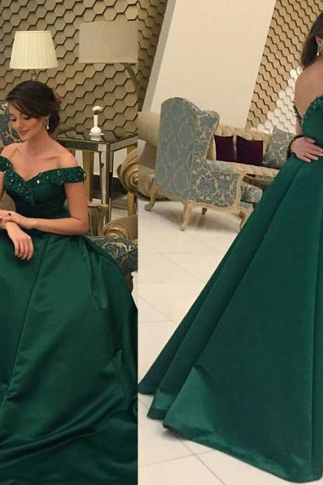Green Off Shoulder Evening Formal Dress,Elegant Prom Dress,Sexy Prom Dress,Long Prom Dress,Evening Dress,Evening Gown, Charming Prom Dress,Hot Sale Formal Dress,Party Dress