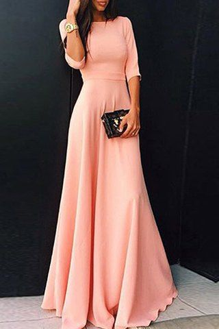 Womens's Stylish Round Neck 3/4 Sleeve Pure Color Dress Maxi Dresses,Charming Prom Dress,Simple Prom Gowns,Evening Dress,2017 Prom Dress,Women Dress,Cheap Prom Dress,