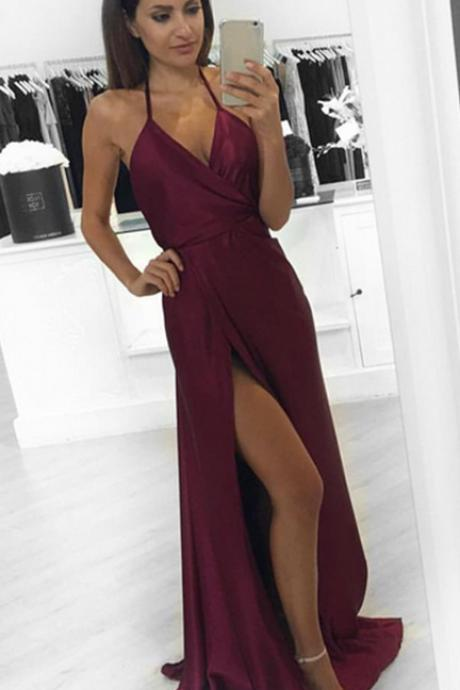 2017 Modest Prom Dresses,Sexy New Prom Dress,A-Line Burgundy Prom Dress slit ,Formal Occasion Dresses Dress,Simple Prom Gowns,Evening Dress,Party Dress,