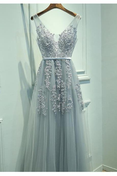 Blush Gray Prom Dress, Lace Appliques Prom Dress,Long Prom Gowns,Sexy V Neck Prom Dress, Tulle Prom Evening Dress,Real Made Formal Dress,Party Dress,Charming Evening Dress,