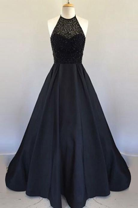 A Line Halter Floor Length Black Pleated Prom Dress with Beading, Modest Prom Dress,2017 Prom Dress,Black Prom Gowns,Satin Party Dress,Prom Dress For Teens,Charming Evening Dress