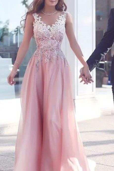 Beautiful Pink Prom Dress,Chiffon Prom Dress,Lace Appliques Prom Dress,Round Neck Prom Dress,A line Evening Dress,Woman Formal Wedding Dress,Pink Bridesmaid Dress,