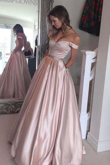 Senior Prom Dresses, Off the Shoulder Prom Dress,Pearl Pink Prom Dress, A-line Long Prom Gown, Teens Party Dress, Ball Gown,Prom Dress 2017,Charming Evening Dress