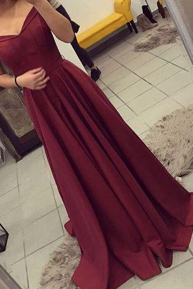 Burgundy Prom Dress, Off The Shoulder Formal Gown ,Party Dress Long, Evening Gown,Elegant Burgundy Prom Dress, Off The Shoulder Formal Dress,Charming Prom Dress 2017