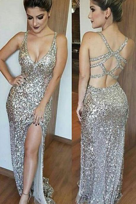 Luxurious Mermaid Long Prom Dress with Side Slit Evening Dress,High Quality Custom Made Prom Dress,Party Dress,Silver Sequins Prom Dresses, Deep V-Neck Prom Dresses,Split Floor Length Beading Prom Dress,Charming Evening Dress,