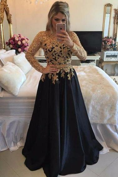 Long Sleeve Black Prom Dresses With Gold Sequins,Sexy Prom Dresses ,Illusion Back Long Party Dresses,Jewel Neck Black Gala Dresses Plus Size 2017,Senior Prom Dresses,