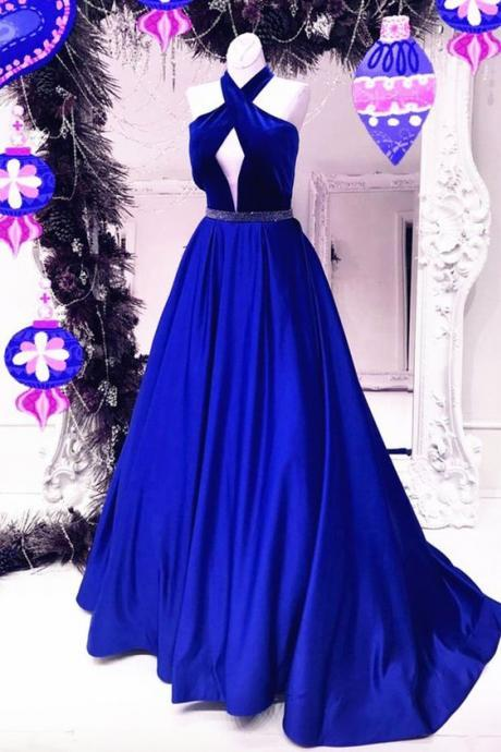 2017 Prom Dress,Modest Prom Dresses,Custom Made Prom Dresses,Royal Blue Prom Dress,Formal Party Dress,Sexy Back Prom Dress,Prom Gowns,Women Dress