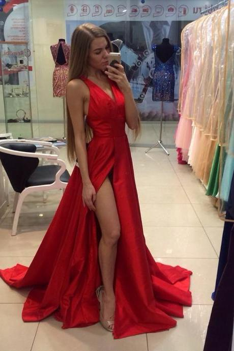 Real Sexy Light Red Simple Cheap Long Prom Dresses,Sexy Slit Formal Party Dress,Red Evening Dress,Sexy Red Prom Dress,Halter Neckline Red Slit Prom Gowns,
