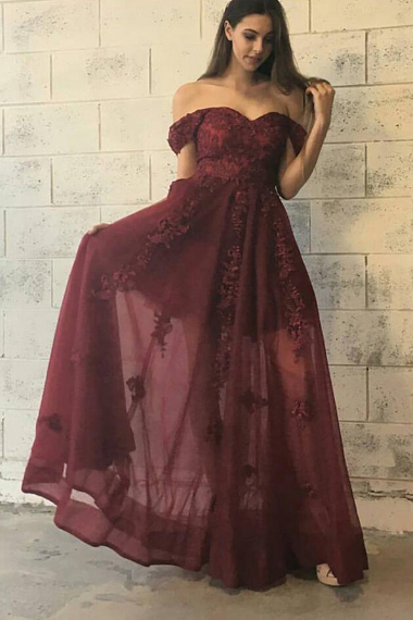 2017 Prom Dress,Burgundy Prom Dress, Appliques Prom Dresses,Wedding Guest Prom Dresses,Off Shoulder Floor Length Prom Dresses,Special Occasion Women Dresses,Graduation Dress,