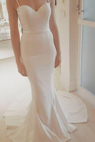 Sexy Speghetti Straps Prom Dress,2017 Prom Dress,White Wedding Dress, Mermaid Prom Dress, Charming White Prom Dress, Custom Made Prom Party Dress,Formal Dress for Weddings,