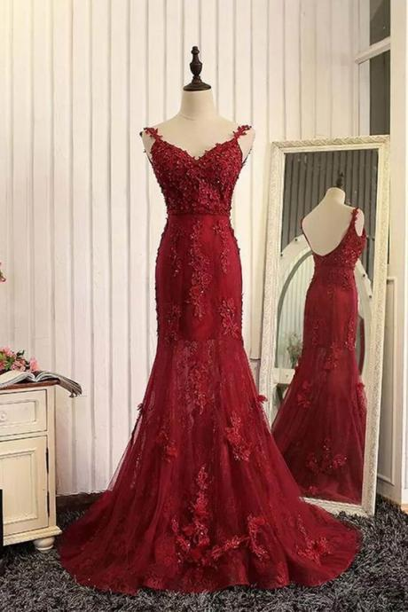 Red Tulle Lace Applique V-neck Open Back Long Prom Dresses,Burgundy Prom Dress,Sexy Backless Prom Dress,New Fashion Women Dress,Charming Formal Dress,
