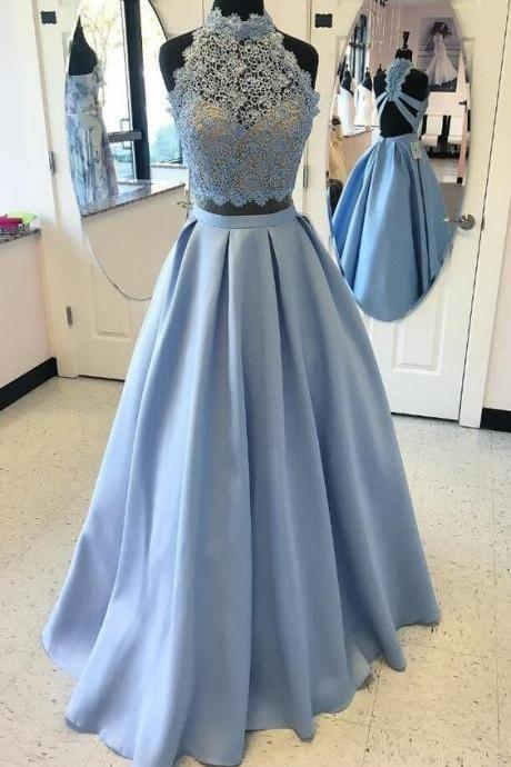 Charming Prom Dress,A-Line Prom Dress,Satin Prom Dress,Noble Prom Dress,Lace Prom Dress,High Neck Prom Dress,2017 Evening Dress,Party Dress,Formal Women Dress,