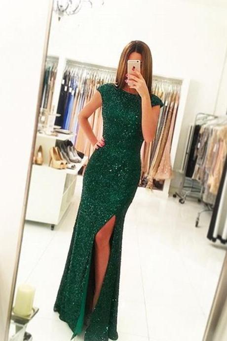 Real Made Prom Dress,Backless Prom Dress,Green Sequins Prom Dress,Long Prom Party Dress,Women Dress,Sexy Slit Prom Gowns,Beaded Evening Dress,Sexy Formal Dress,
