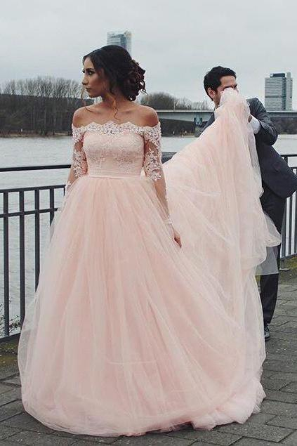 Off the Shoulder WeddingGown,Long Wedding Dresses, Wedding Dresses 2017, 2017 wedding dresses, Womens Prom Party Dresses